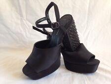 NEW LOOK Black Studded Block Heel Platform Sandals UK5 EUR38