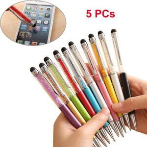 5Kristall-Diamant-Kugelschreiber-Strass-Beruehren-Bildschirm-Stift-Schwarz-Tinte
