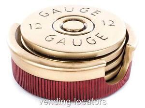 Shotgun Shell Coaster Set - 4 Pc - 12 Gauge Shot Bullet Hunting Cabin Man Room