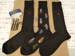 POLO RALPH LAUREN Exquisite Sock Novelty Bears Black Crew Socks 3 pk ... 375831569133