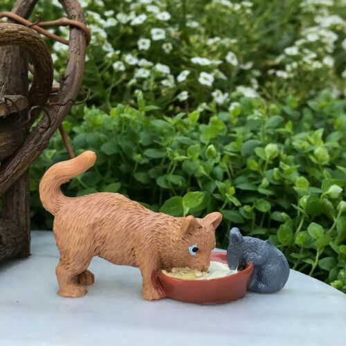 Miniature Dollhouse FAIRY GARDEN Accessories ~ Cat /& Mouse Sharing Bowl of Milk