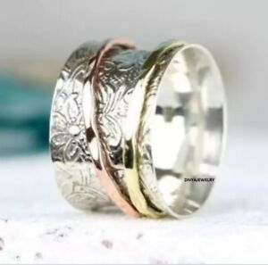Solid-925-Sterling-Silver-Spinner-Ring-Meditation-Ring-Statement-Ring-Size-st879