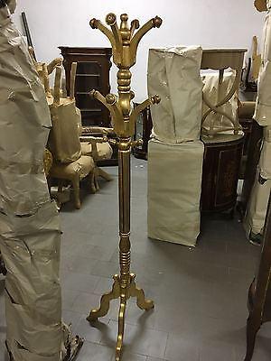 Appendi abiti uomo morto attaccapanni foglia oro legno massello H 190 cm