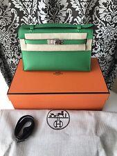NEW IN BOX HERMES BAMBOO GREEN SWIFT KELLY POCHETTE MINI CLUTCH BAG 1K