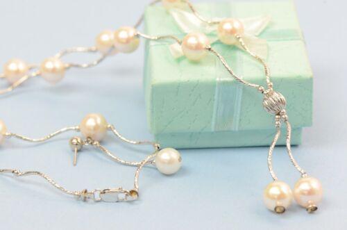 14k White Gold Charming Genuine White Pearls Set Necklace//Bracelet//Earrings *