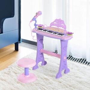 AgréAble Homcom Mini Batterie Orgue Piano Microphone Tabouret 32 Clé Clavier Enfants Jouet-afficher Le Titre D'origine êTre Nouveau Dans La Conception