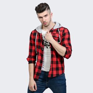Men 39 s lightweight hoodie plaid flannel shirt fashion ebay for Men s lightweight flannel shirts