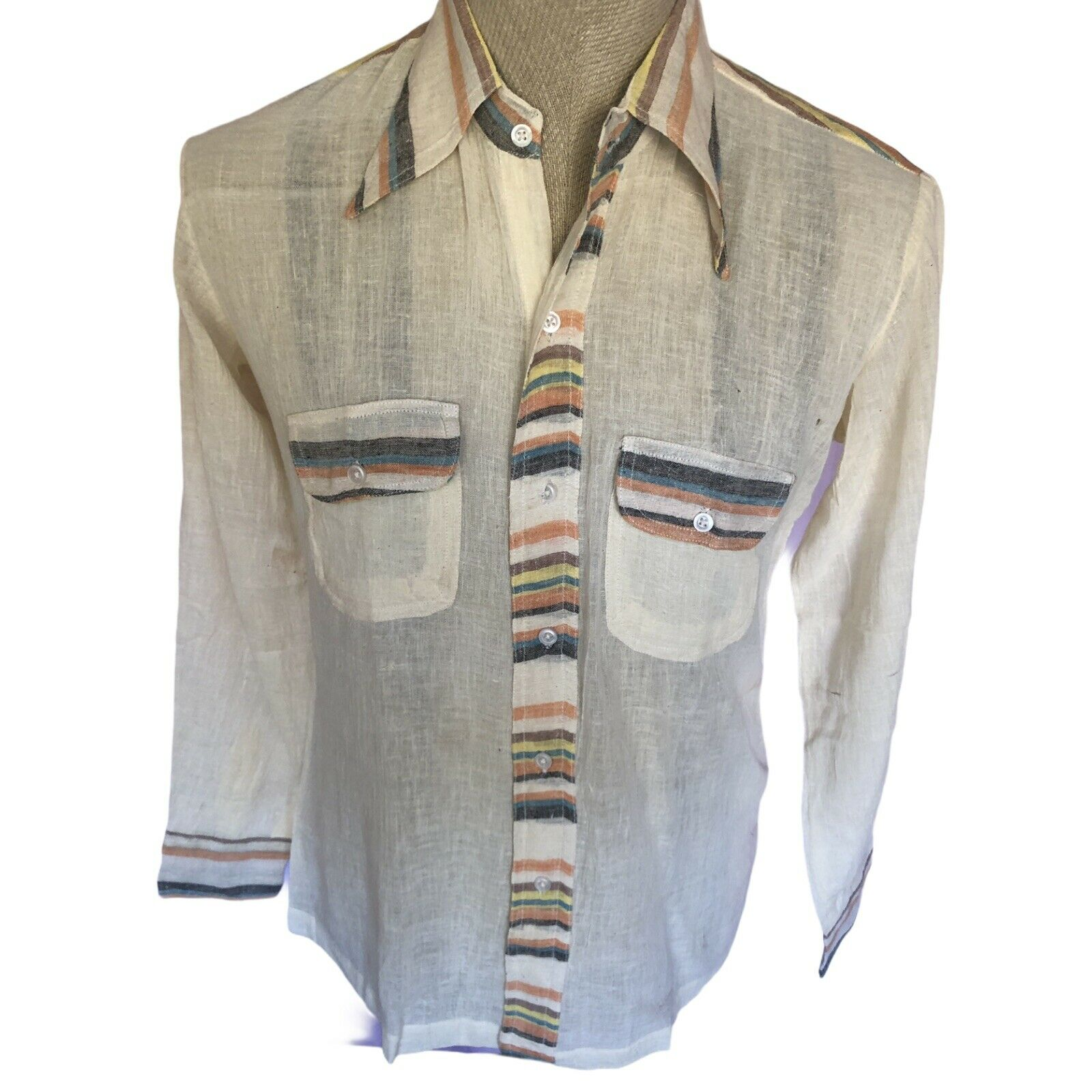 1970/'s Novelty Print Gauzy Tunic Blouse
