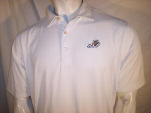 Peter Millar Large White Poly/Spandex Golf Shirt Pine ...