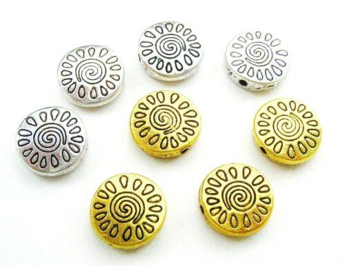 Metallperlen Spacer Buttons 13mm 10 Stück SERAJOSY Zwischenperlen