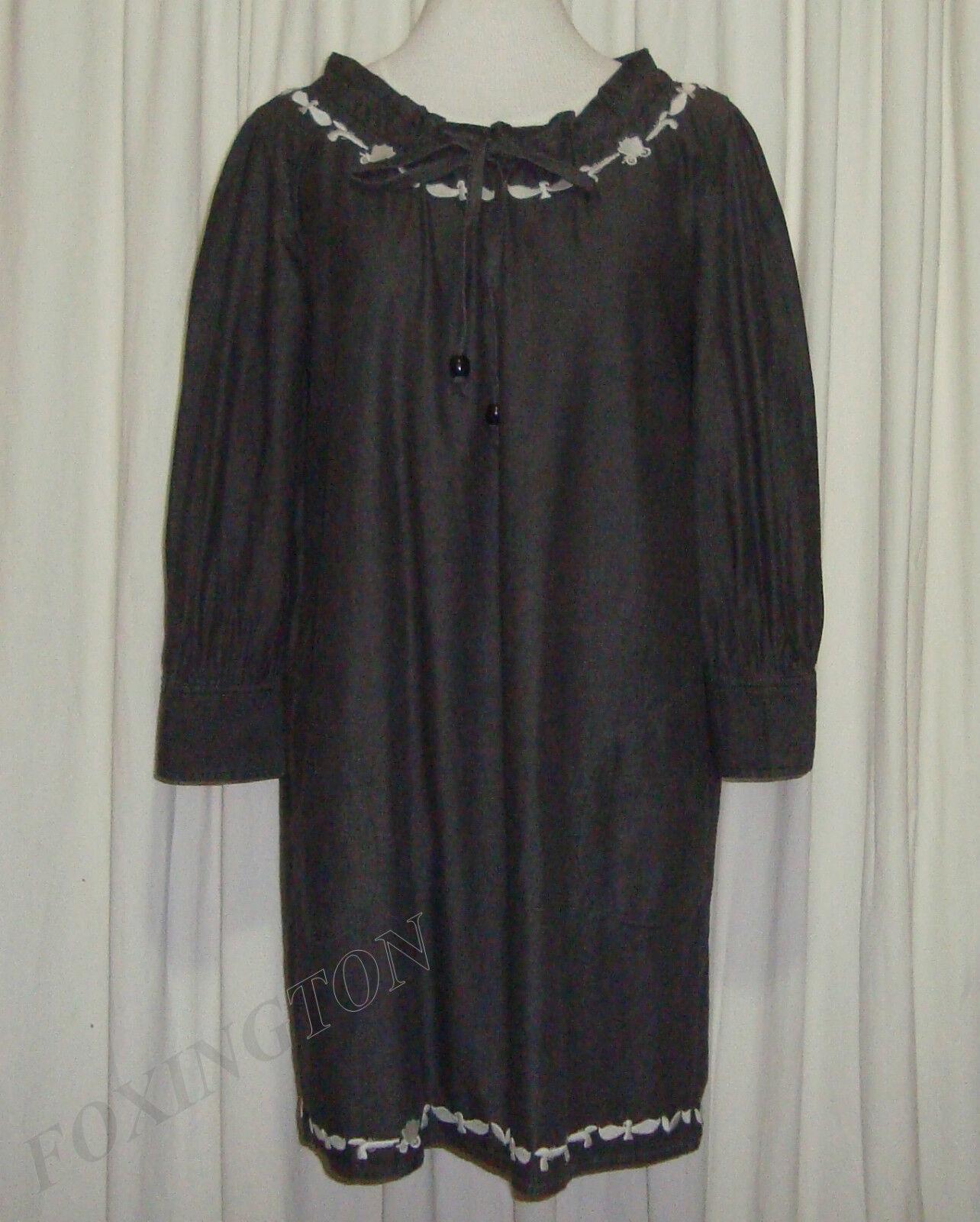 ZIMMERMANN DARK GREY EMBROIDERED DRESS MATERNITY DRESS size 2 (AUS 12 14,US 6 8)