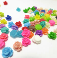 10 x Resin Flower Cabochons 20 Petite Iced Lime Roses Retro 7.5mm x 6mm