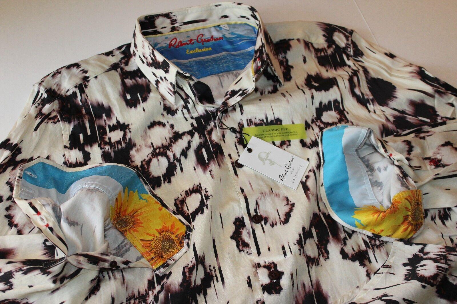 f3e3f3f2 Robert Graham Shirt Exclusive White Star RR151407CF Cream LS XX-Large 2XL. '