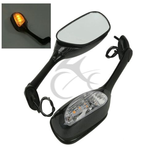 Led Carbon Side Rear View Mirrors Turn Signal For Suzuki GSXR 600 750 06-15 12