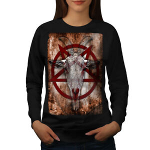 Image is loading Wellcoda-Occult-Goat-Symbol-Womens-Sweatshirt -Satanistic-Casual- 1abcaf06b9