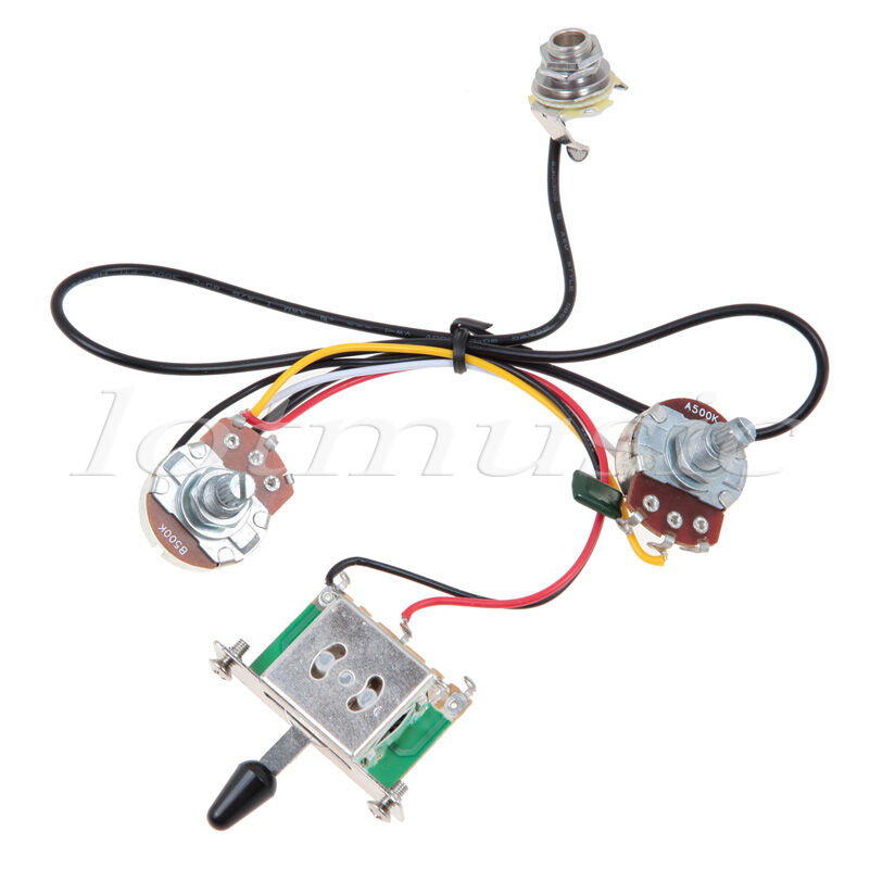 Guitar Wiring Harness 3 Way Two Pickup Blade Switch 500k