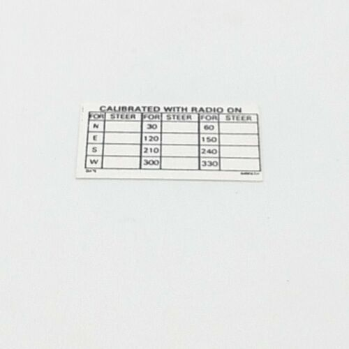 Airpath C23-808 compass deviation card Piper
