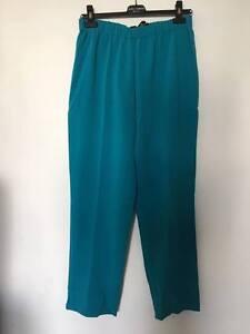 MARINA RINALDI by Max Mara RAPSODIA Turquoise Blue pants Trousers I17/US8/UK12