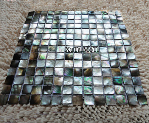 11PCS Black Lip Shell Mosaic Mother of Pearl Kitchen Shower Decoravtive Tiles