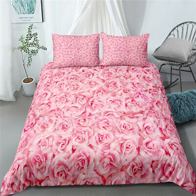 Pink Love Rose Twin Full Queen King Size Bed Duvet Quilt Cover Set