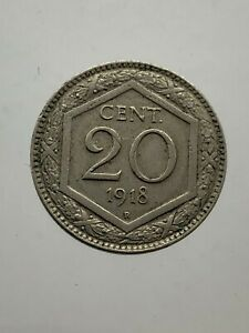 Kingdom-D-039-Italia-Vittorio-Emanuele-III-20-Hexagon-1918-Bel-BB