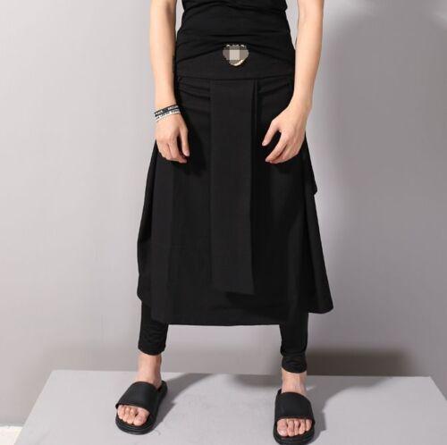 Herren Rock Pluderhosen Tanzkleid Plissee Rock Hose locker geschnitten Schwarz
