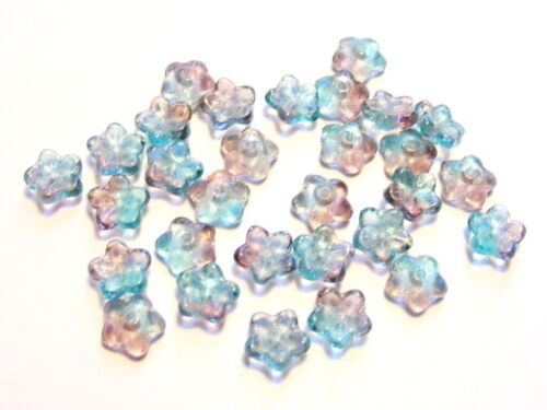 20 Glasperlen Blümchen flach 7 mm Farbwahl