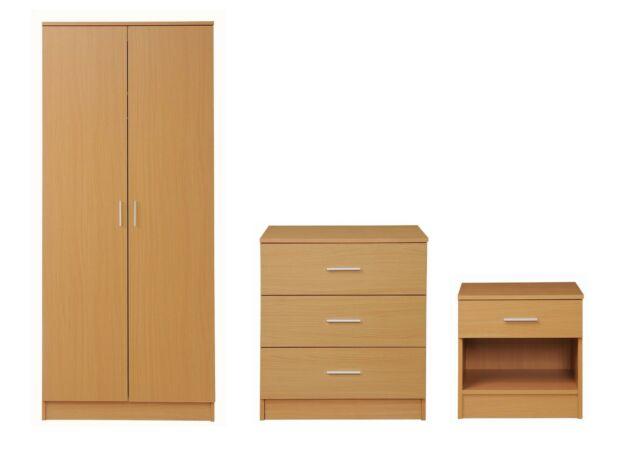 Seconique Ludlow Grey Oak 3 Piece Bedroom Set Wardrobe Chest Bedside Table For Sale Online Ebay