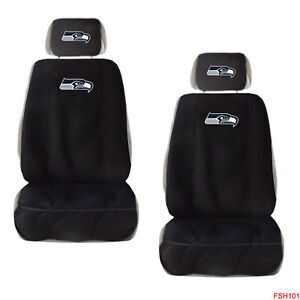 New NFL Seattle Seahawks Car Truck 2 Front Seat Covers with Head Rest Covers