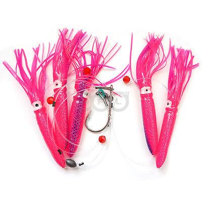 "Qty 3 Shell Squid 7.5/"" Daisy Chain Trolling Fishing Lure Pink Blue White Green"