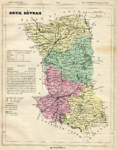Details about Genuine Original Antique 1877 France Hand Colored Map DEUX  SEVRES French Europe
