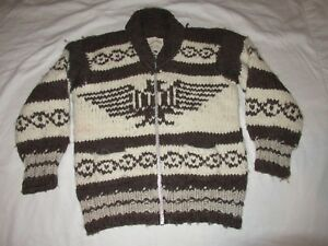 a9d5120fc32b Authentic Vintage Cowichan Indian Hand Spun Wool Thunderbird Sweater ...