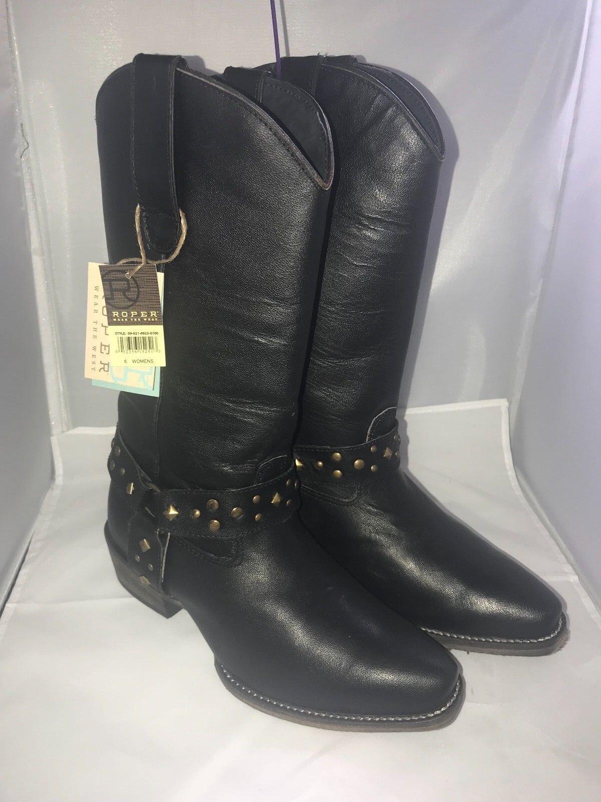 per poco costoso ROPER Studded Belt Donna  Western Western Western stivali NEW nero Leather Dimensione 6 M  risparmia fino al 50%