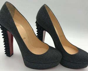 c8b56dd23a2 Details about Authentic Christian Louboutin Taclou 140 Grey Spiked Flannel  Pumps Heels Shoes