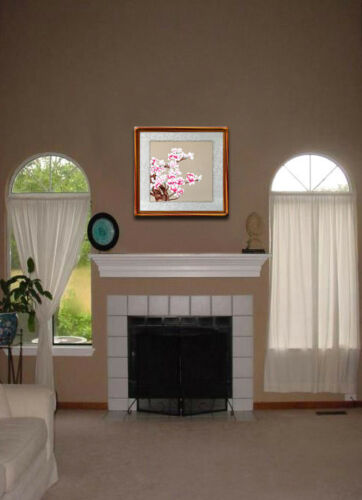 """16/"""" BROCADED CHINESE SILK EMBROIDERY PAINTING MAGNOLIA REPRESENT FRIEND /& LOVE"""