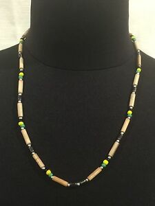 BLACK-GOLD-GREEN-amp-BAMBOO-BEADED-NECKLACE-52cms-20-034-HAND-MADE