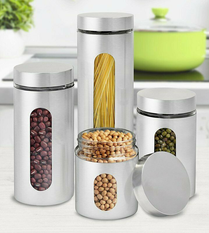 4pc Canister Set Containers Air Tight Kitchen Glass Stainless Steel Food Storage