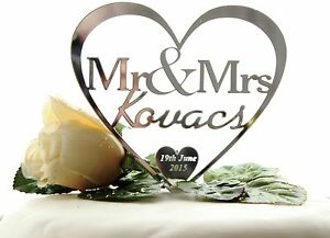 Personalised-Heart-Cake-Topper-Mr-amp-Mrs-Wedding-Keepsake-FREE-GIFT-BAG
