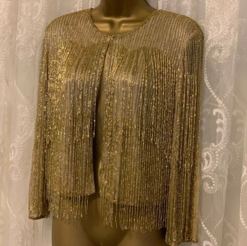 Embellished Tassle Fringe Party Charleston Gatsby 6 16 Gold New Evening Jacket Agqtw