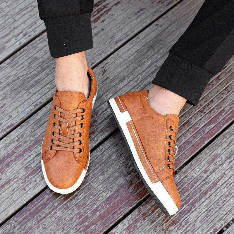 Men's faux Leather Casual dress shoes Flats Lace up sneaker Formal shoes