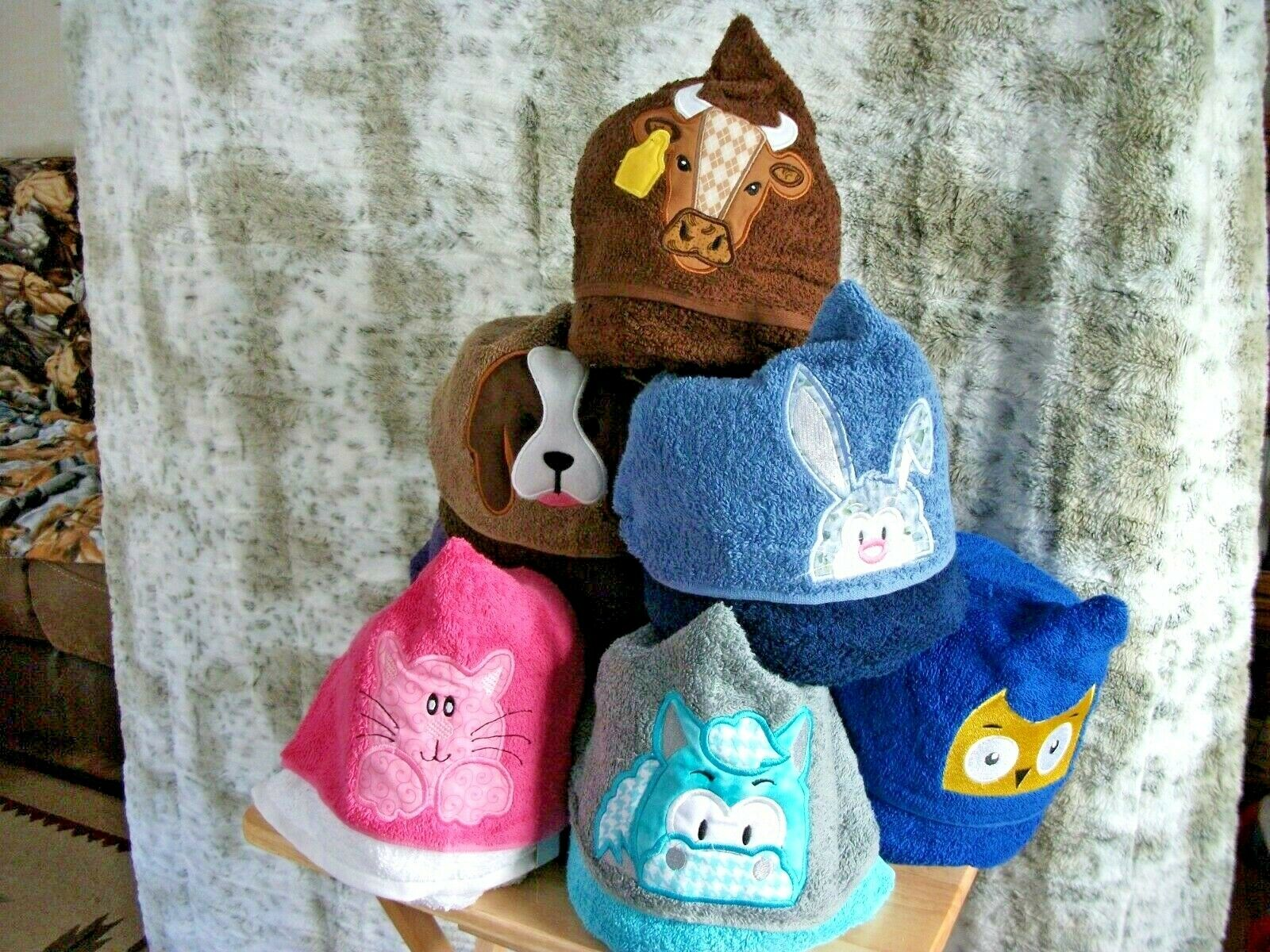 HOODED TOWELS FOR KIDS,HORSE, BUNNY, CAT, DOG, COW ,PERSONALIZED FOR FREE