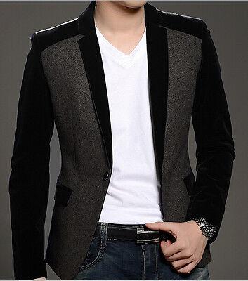 Fashion Men's Slim Fit 1-Button Velvet Blazer Suit Jacket Sportcoat Outerwear