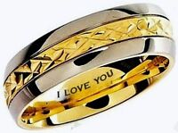 Engraved ''i Love You'' Gold Gp 7mm Titanium Wedding Engagement Band Ring Size T