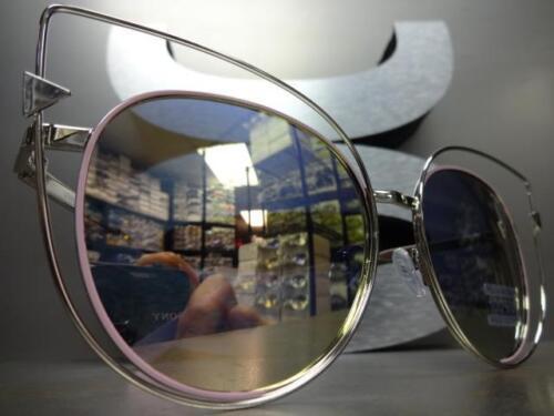 OVERSIZE VINTAGE RETRO CAT EYE Style SUN GLASSES Pink Silver Frame Mirror Lens