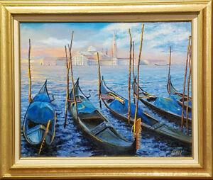 "Venetian gondolas. Original framed oil on canvas 16""x20"" painting from artist"