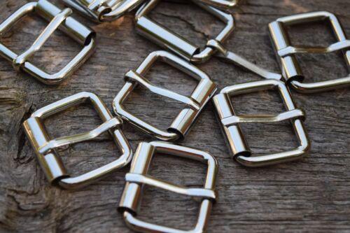 Fibbia in Metallo a rulli per adattarsi 25mm Cinturino Argento Fibbia di Ricambio FINITURA NICKEL