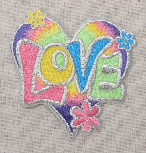 60/'s Iron on Applique//Embroidered Patch Flowers Pastel Love Heart