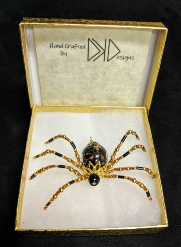 Christmas Spider Ornament w// Xmas Legend /& Gift Box Black body w// copper flecks