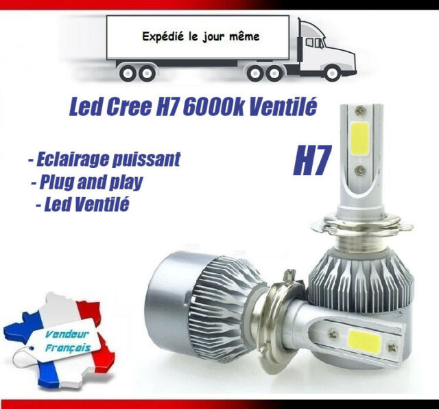 AMPOULES LED HID XENON X2 H7 72W 6000K PHARE VOITURE TUNING BLANC CITROEN C3 C4