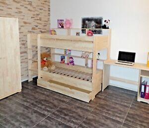 Hochbett-Kinderbett-Etagenbett-Bett-Kinderzimmer-Rollrost-Schublade-Massivholz